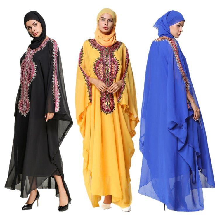Arab Elegant Loose Abaya Kaftan Islamic Boho Print Muslim Dress Women Dubai Robe