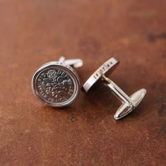 Sixpence 60th 1955 birthday coin cufflinks