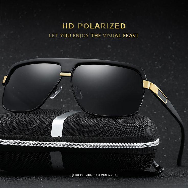 4 Colors HD Metal Men Polarized Driving Sunglasses Sports Mirrored Sun Glasses Eyewear Male With Box
