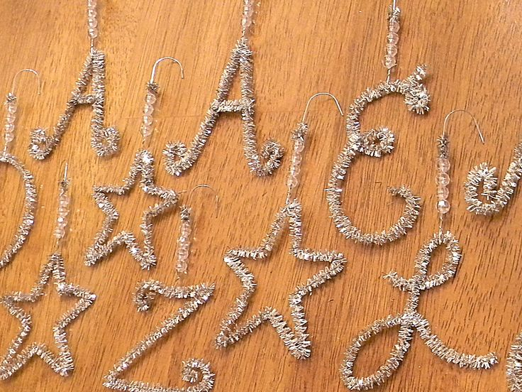 Easy Monogram Ornaments using pipe-cleaners
