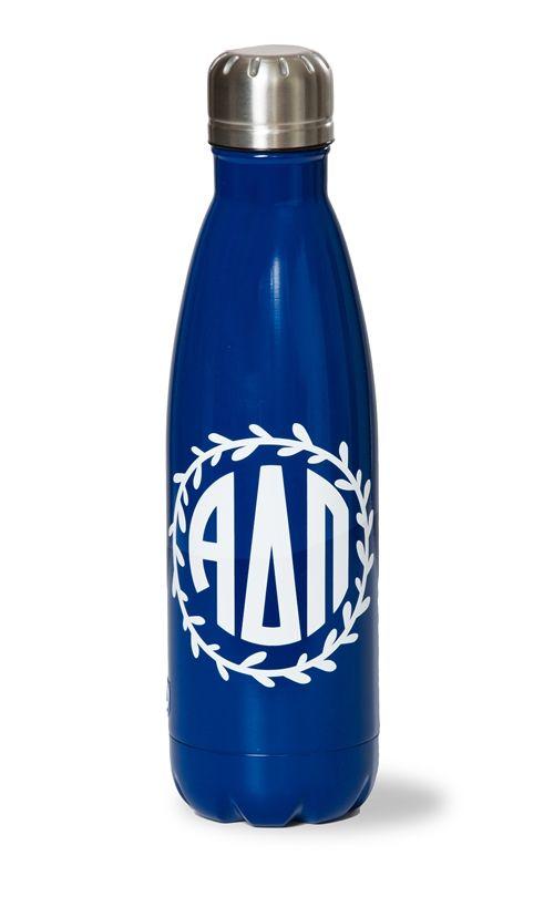 Alpha Delta Pi Stainless Steel Wreath Water Bottle. www.sassysorority.com #waterbottle #wreath #stainless steel, #bidday #ADPI #sassysorority #drinkware #sorority #greeklife #gogreek #monogram