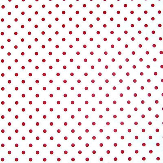Red on White Polka Dot Cotton Fabric White with by fabricandribbon