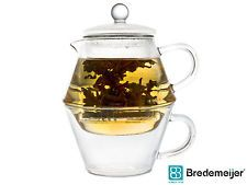 BREDEMEIJER Teekanne + Glas PORTOFINO Tea-for-One Tee-Kännchen  + Tee-Tasse