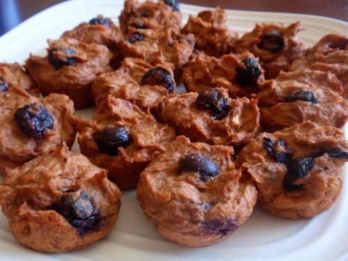 Sweet Potato Blueberry Bites- sweet potatoes, cocoa powder, flax seed meal, greek yogurt, blueberries, egg whites, cinnamon, nutmeg