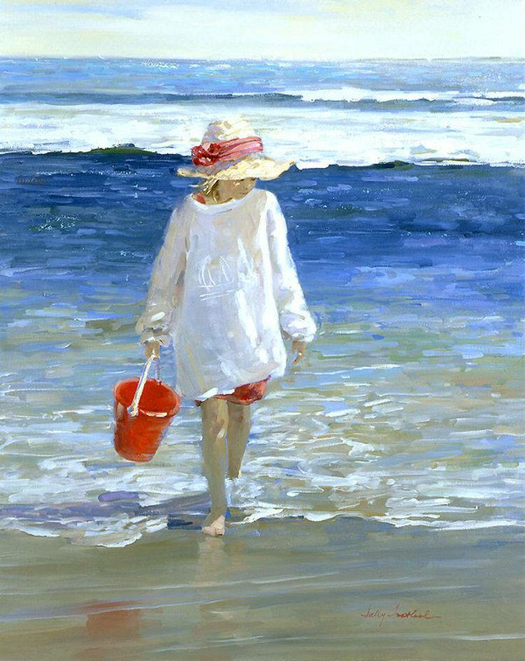 Oil paintings of children playing on the beach www for Paintings of toddlers