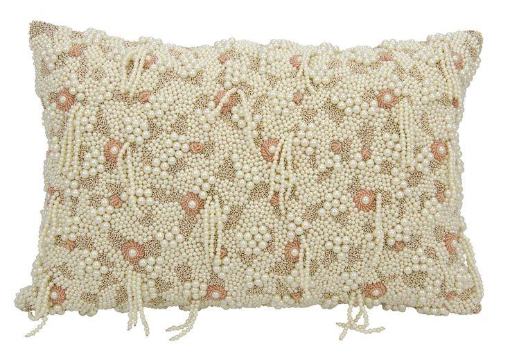 Pillows Mina Victory Couture Luster Cascade Natural Throw Pillow