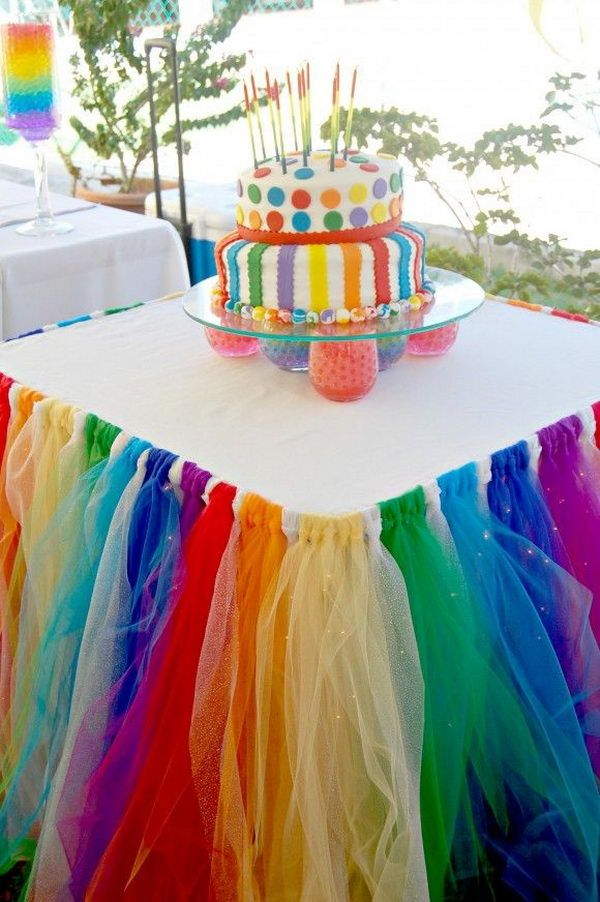 Rainbow Table Decor. Rainbow colors are perfect for a festive event, from kids or adult birthdays to anniversaries or graduation. http://hative.com/diy-rainbow-party-decorating-ideas-for-kids/