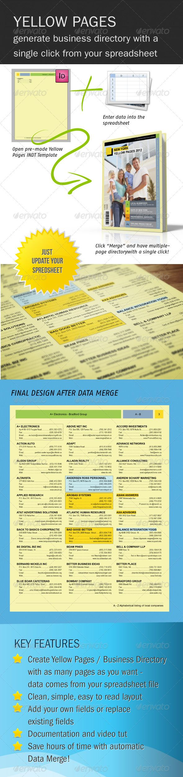 Yellow Pages Business Directory #GraphicRiver Yellow Pages template – create unlimited number of pages with this easy-to-use data merge. All data is in the spreadsheet, and that is all you have to edit. Once the data is ready you can create hundreds of pages with just a few clicks by using automation feature of InDesign. Data fields currently include business name, address, fax, email, url. These fields can be edited, or you can add your own fields and create a completely new design that…
