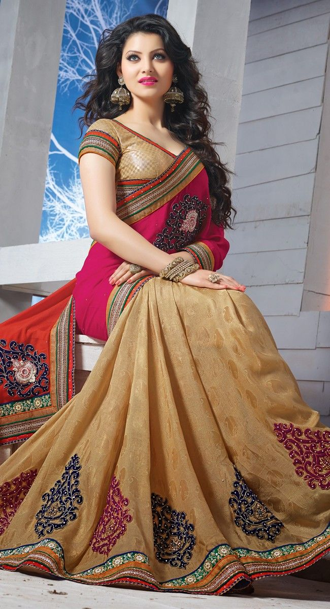 Beige,Orange and Pink color Half And Half Saree-Chiffon Embroidered #Saree