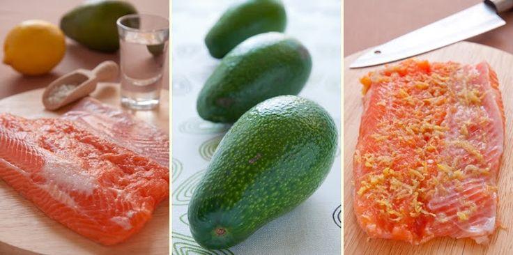 Лосось в текиле и авокадо с бальзамическим уксусом