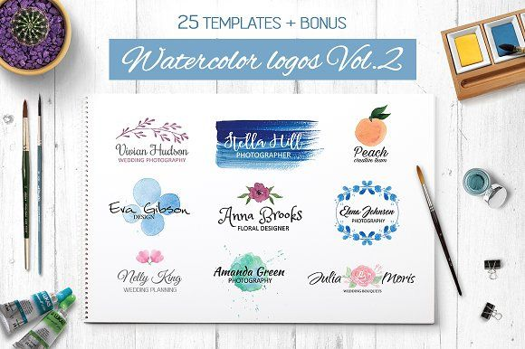 Watercolor logo templates V.2 by Switzergirl on @creativemarket