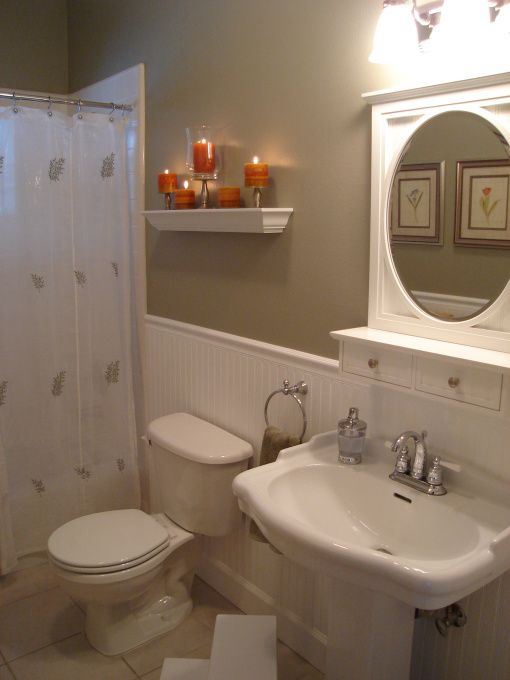Beadboard Paneling Bathroom | Beadboard Bathroom, Beadboard Wainscot with crown moulding and header ...