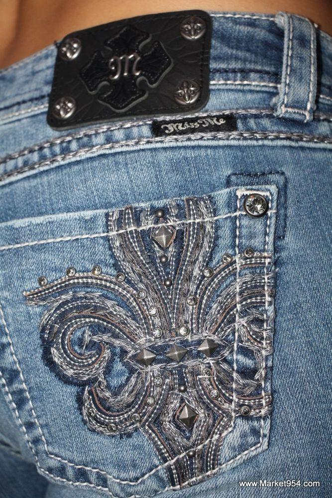 Miss Me Jeans SALE Gray Silver Fleur de Lis Womens Denim Boot Cut JP5182B10 NEW