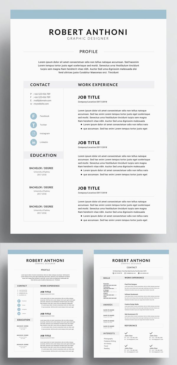 4 Page Resume Cv Template For Word Resume Design Resume