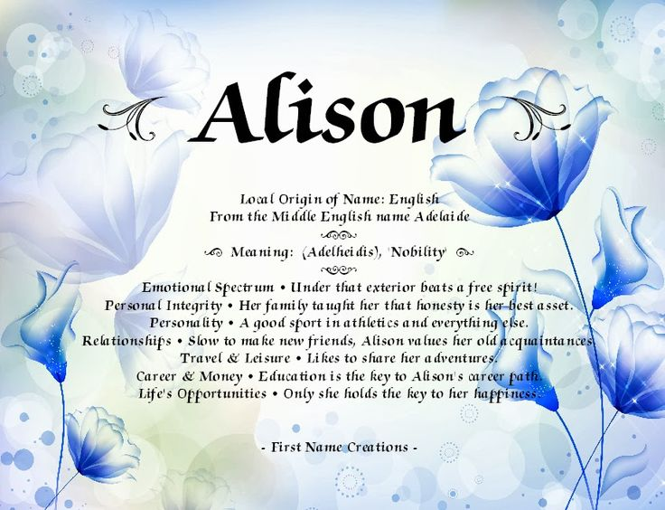 Image result for allison name meaning | Names with meaning ...