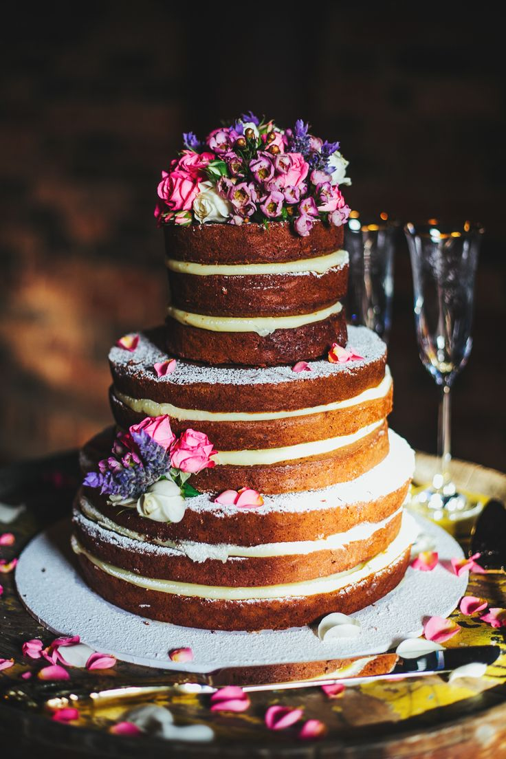 Our naked cake with fresh flowers. Cake made by: CharBella Cakes