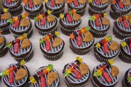 bbq grill cupcakes, grill cupcakes, easy cake decorating