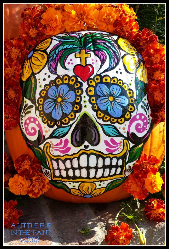 dia de los muertos pumpkins   Little Fur in the Paint...: Dia de los Muertos Pumpkin, Step-by-Step