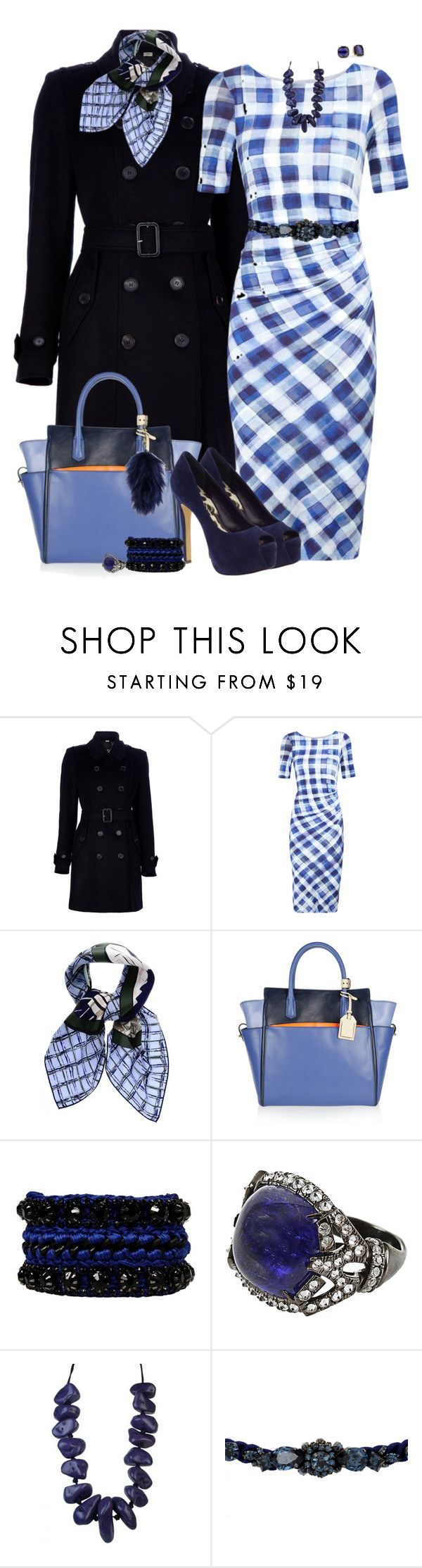 """Blue Checked Dress"" by lmm2nd ❤ liked on Polyvore featuring Burberry, Paul Smith, Christian Dior, Reed Krakoff, Jessica Simpson, Venessa Arizaga, Arunashi, Kate Spade, Shourouk and Deadly Ponies"