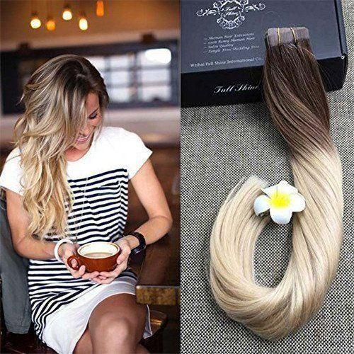 Full Shine Tape In Ombre Hair Extensions Human Hair Glue In Extensions (6B /613)#Full Shine Hair #