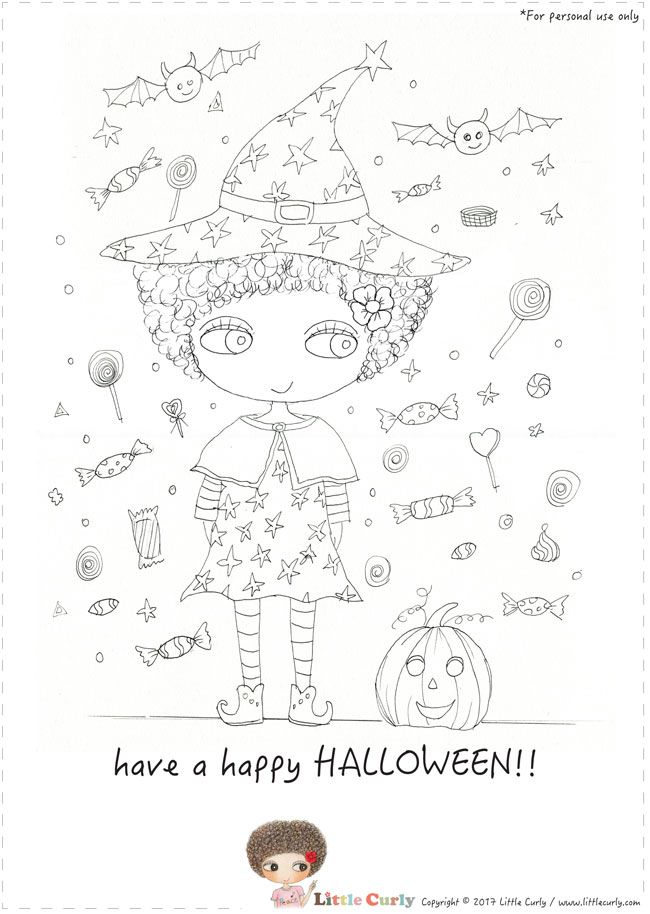 Little Curly's colouring pages - have a happy HALLOWEEN!
