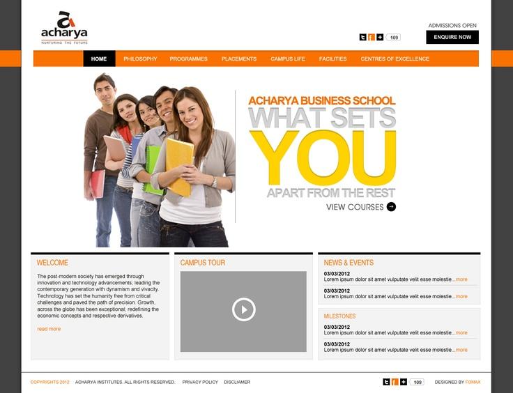 Acharya Bschool Website design by Fomaxtech.com
