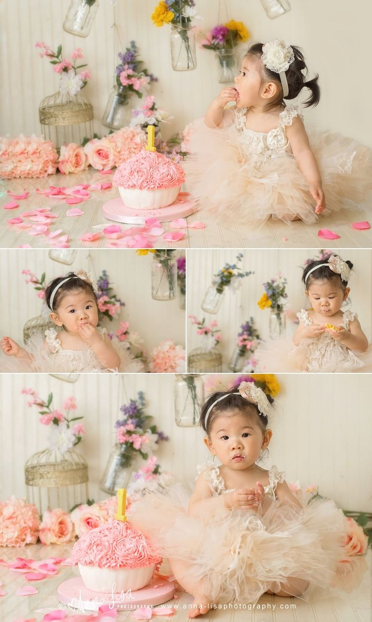 Children Photography   First Birthday   Cake Smash   Pink   Anna-Lisa Photography   Flowers   Floral Cake Smash