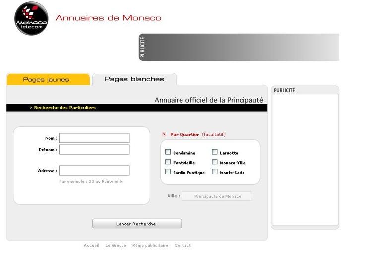 Les pages blanches de Monaco