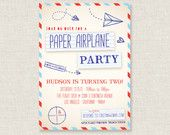 Paper Airplane Party - Birthday Invitation - PRINTABLE