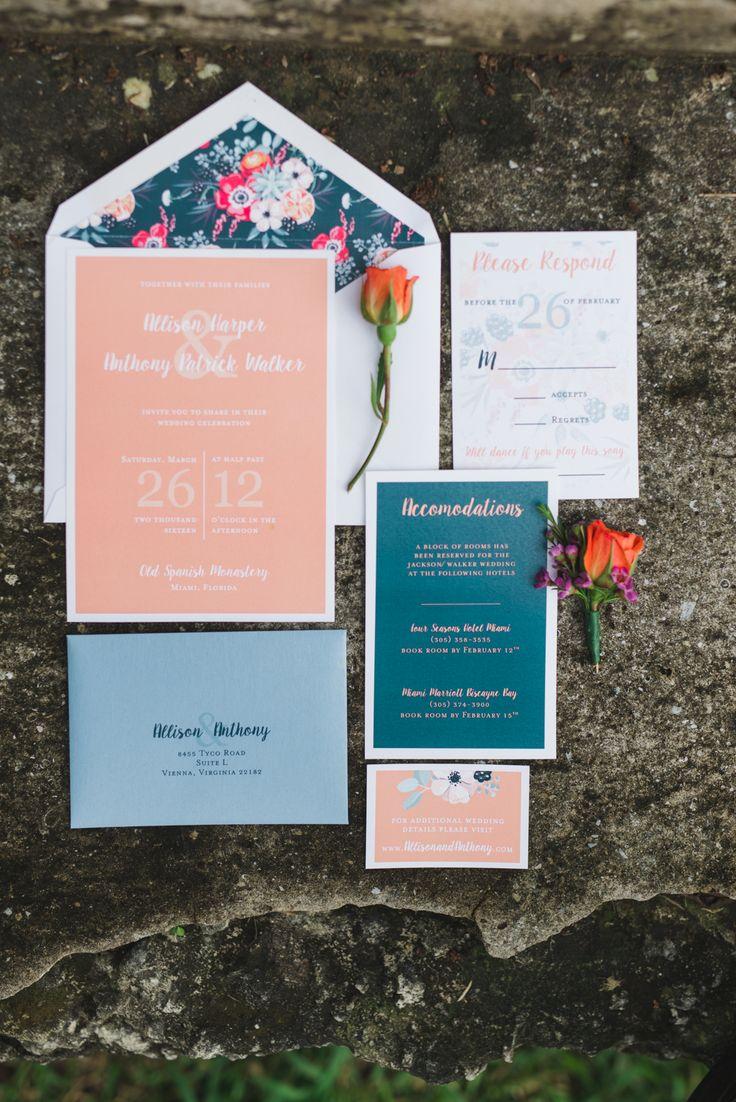 Spring peach and blue wedding invitation suite idea