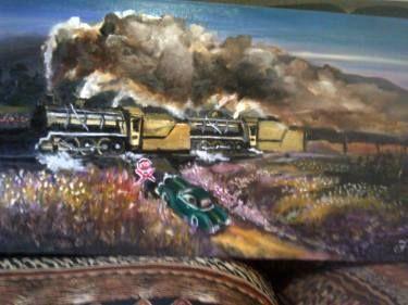 """Saatchi Art Artist FRANS BOTHA; Painting, """"NATAL EXPRESS 14 CLASS F STEAM TRAIN         SOLD"""" #art"""