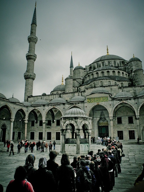 A line forms for prayer service at the Blue Mosque in Istanbul, Turkey.