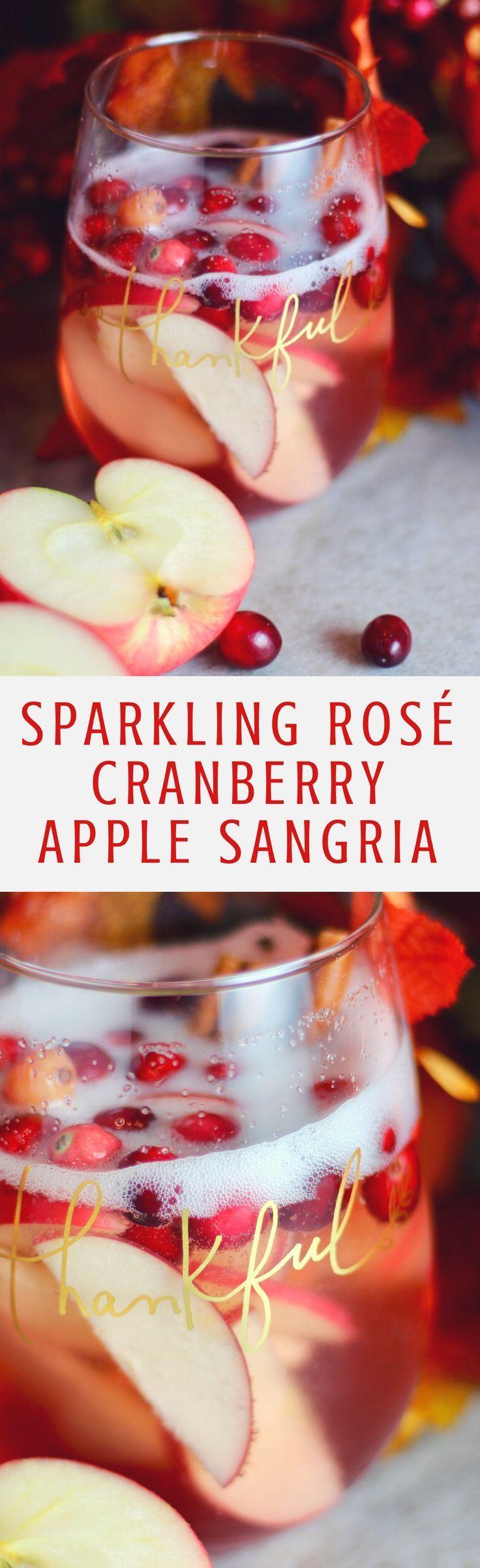 Sparkling Rose Cranberry Apple Sangria Thanksgiving Cocktail Rose Sangria Sparkling Sangria