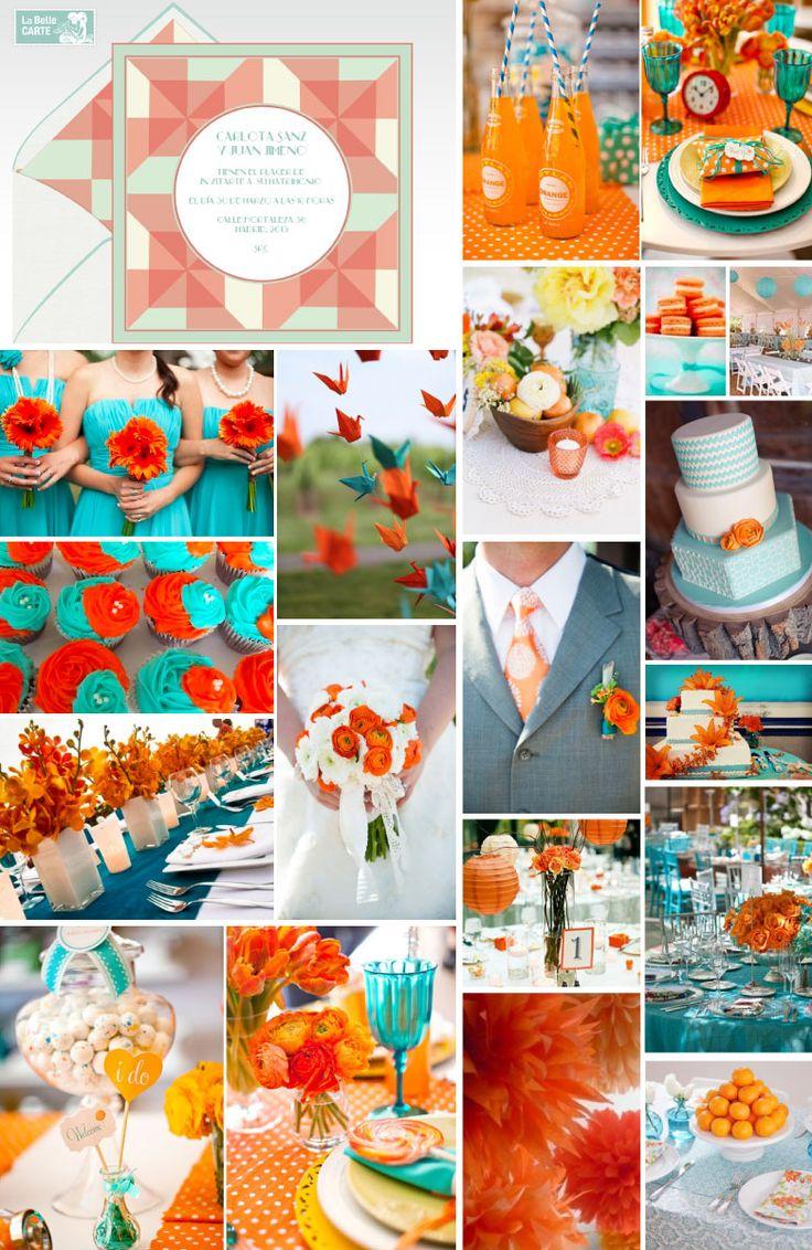 Invitaciones de boda e Invitaciones para boda en turquesa y naranja LaBelleCarte