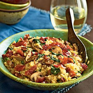Bacon, mushroom, and spinach risotto