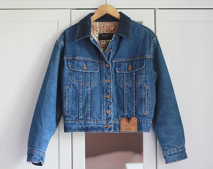 VALENTINO JEANS Denim Jacket Vintage Retro High Fashion Blue 1980s Women Unisex Padded Outerwear Thick Warm Clothing Winter / Large size