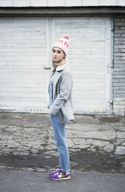 Shop this look for $117:  http://lookastic.com/women/looks/beanie-and-turtleneck-and-low-top-sneakers-and-pea-coat-and-overalls/917  — Pink Beanie  — Grey Turtleneck  — Purple Low Top Sneakers  — Grey Pea Coat  — Light Blue Denim Overalls