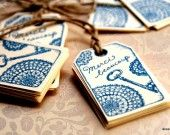 """Lot of 10 blue labels """"Thank you very much"""" handmade: Gift wrapping by akseluna"""