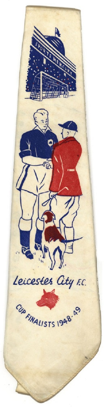 "Corbata del Leicester City Football Club, alusiva a la gran final de la ""FA CUP"" 1948/49."