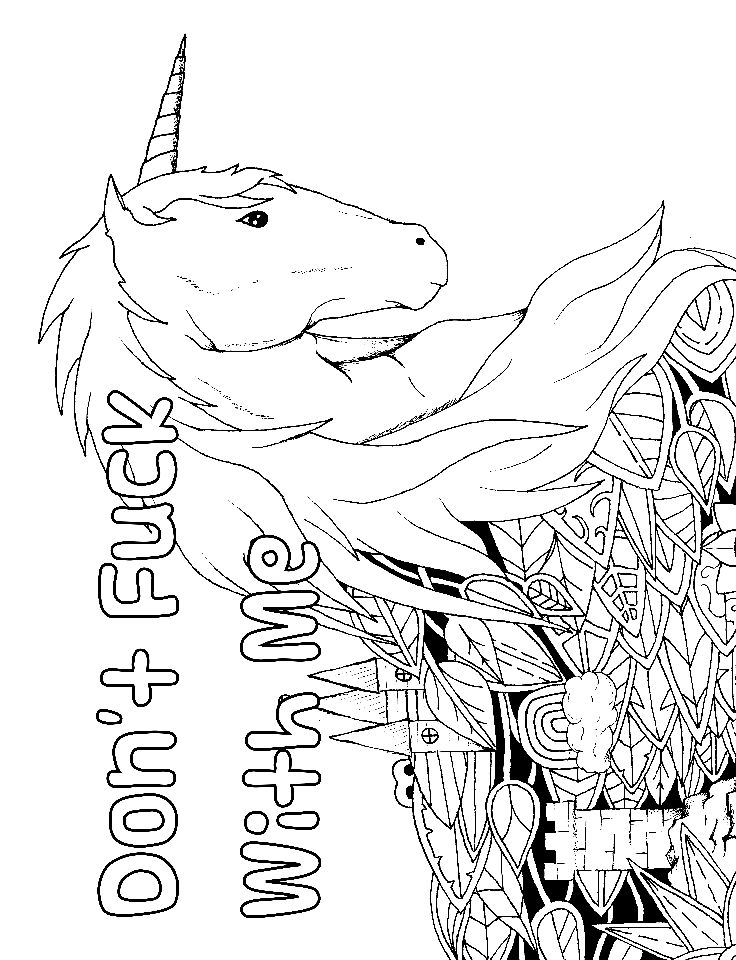 Unicorn - Adult Coloring page - swear. 14 FREE printable coloring pages, Visit swearstressaway.com to download and print 14 swear word coloring pages. These adult coloring pages with colorful language are perfect for getting rid of stress. The free printable coloring pages that are given change, so the pin may differ from the coloring pages give at swearstressaway.com