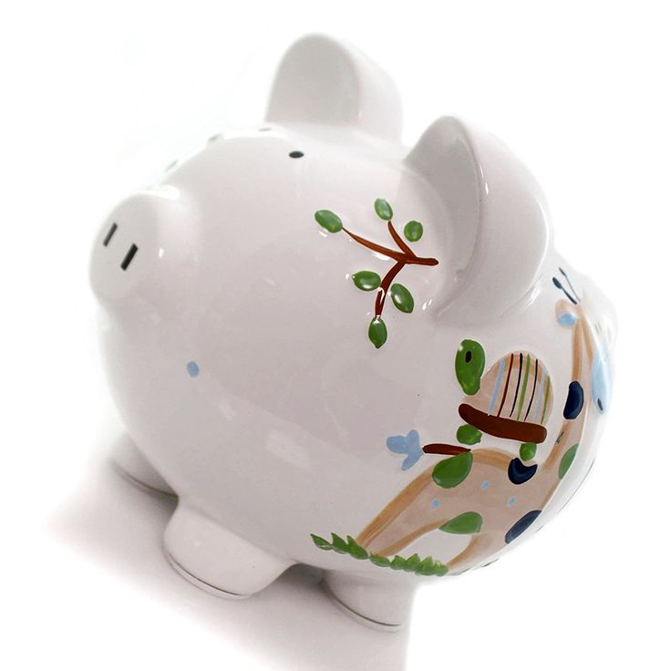"""Amazon.com: Completely Custom {8"""" x 7.5"""" Inch} 1 Single Large, Coin & Cash Bank Decoration for Holding Money, Made of Grade A Genuine Ceramic , My Boyish Tropical Fun Piggy Style {White, Blue, & Black}: Home & Kitchen"""