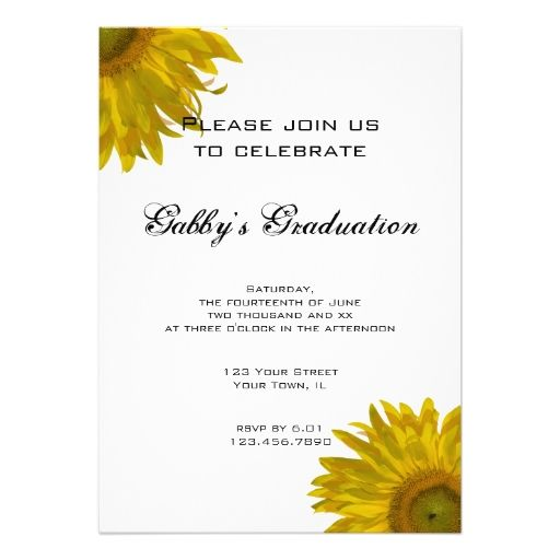 Yellow Sunflower Graduation Party Invitation