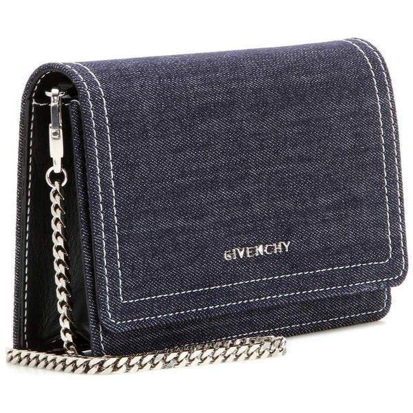 Givenchy Pandora Chain Denim Shoulder Bag ($1,080) ❤ liked on Polyvore featuring bags, handbags, shoulder bags, blue shoulder bag, navy handbag, givenchy purse, navy blue purse and denim handbags