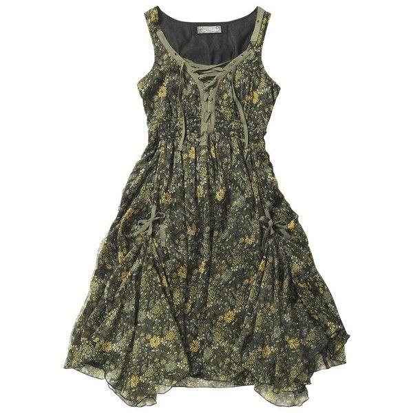 Multi coloured rustic renaissance dress (1,105 MXN) ❤ liked on Polyvore featuring dresses, short dresses, women's dresses & skirts, women+dresses, green cocktail dress, green renaissance dress, mini dress, chiffon dresses and short green cocktail dress