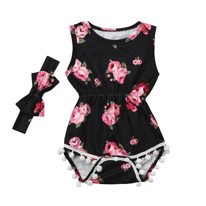 Summer Infant Baby Girl Tassel Romper Jumpsuit Bodysuit Headband Outfits Set