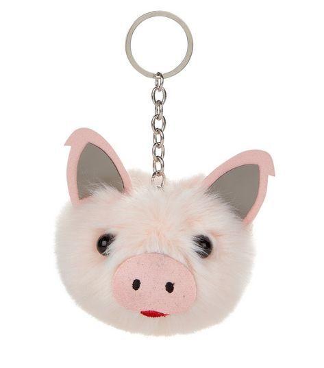 Shell Pink Faux Fur Piglet Pom Pom Keyring   New Look
