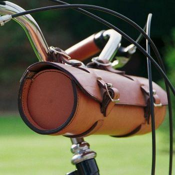Leather handle bar bag, Pashley