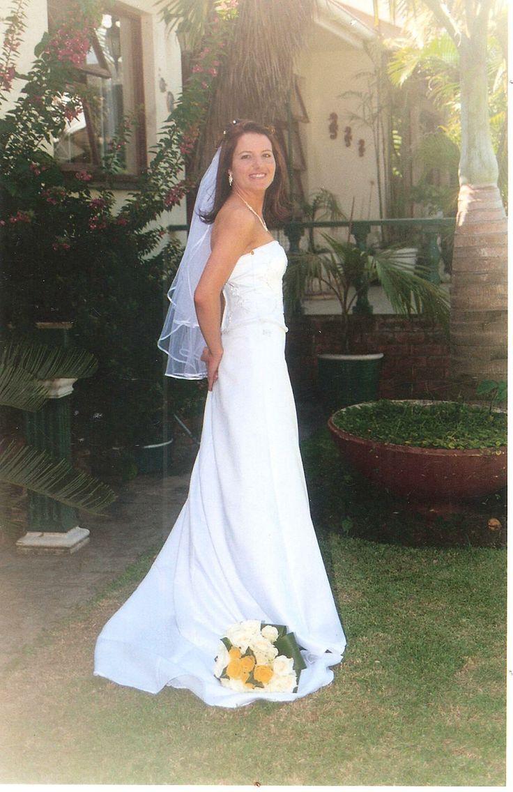 Elegant semi- A line wedding gown