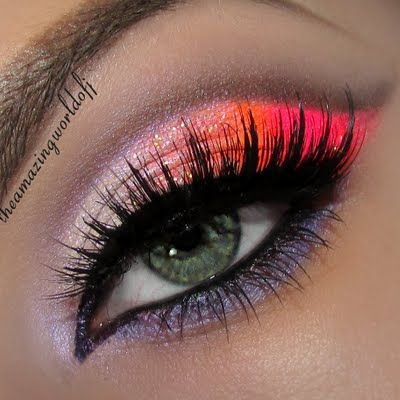 Be bold and exotic with these bright neon shades on your eyes. Recreate this look with the must have makeup here.