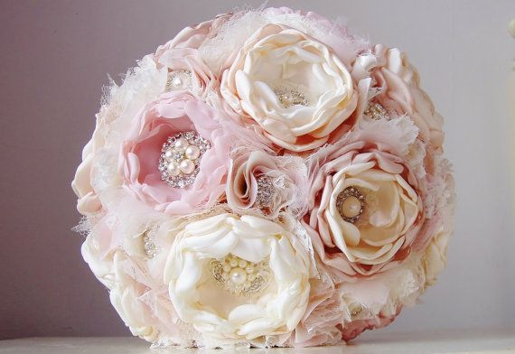 Fabric Flower Wedding Bouquet, Brooch Bouquet,  Fabric Bridal Bouquet, Weddings, Vintage Wedding, Pink, Tan, Champagne, Off…